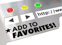 Add to Favorites Website Browser Internet Bookmark Page. Add to Favorites words on a website browser screen to encourage you to bookmark a good Internet page stock illustration