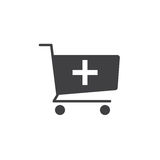 Add to shopping cart icon , solid logo illustration, picto. Gram isolated on white Stock Images