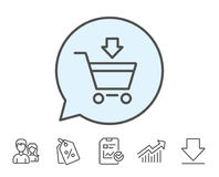 Add to Shopping cart line icon. Online buying. Royalty Free Stock Images