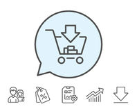 Add to Shopping cart line icon. Online buying. Stock Images