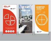Add tool, Eye, Pie chart roll up. Add tool modern business roll up banner design template, Eye creative poster stand or brochure concept, Pie chart cover Stock Photos
