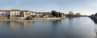 Adda-Fluss bei Vaprio, Italien Lizenzfreie Stockfotografie