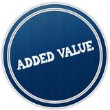 ADDED VALUE distressed text on blue round badge. Illustration Stock Photos