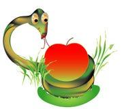 Adder met appel royalty-vrije illustratie