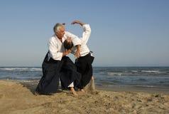 Addestramento del Aikido sulla spiaggia immagini stock