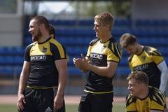 Addestramento del gruppo di rugby a 7 Immagine Stock Libera da Diritti