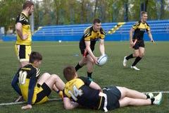 Addestramento del gruppo di rugby a 7 Fotografia Stock