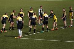 Addestramento del gruppo di rugby a 7 Fotografie Stock Libere da Diritti