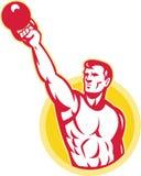 Addestramento del peso di esercitazione di Kettlebell retro Fotografia Stock Libera da Diritti