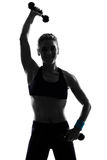 Addestramento del peso di posizione di forma fisica di allenamento della donna Immagine Stock