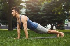 Addestramento della plancia dell'uomo di forma fisica nel parco all'aperto Immagini Stock