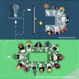 Addestramento di affari di vettore e 'brainstorming' e riunione Immagini Stock Libere da Diritti