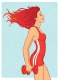 Addestramento di bellezza di Redhead con i dumbells Illustrazione di Stock
