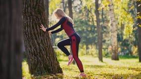 Addestramento di forza della donna di forma fisica che fa allenamento al parco soleggiato di autunno Ragazza sportiva caucasica a Fotografie Stock