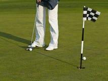 Addestramento di golf con la sfera e la bandierina Fotografia Stock