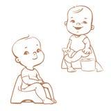 Addestramento a usare il vasino Bambini sul potty abbozzo Fotografie Stock
