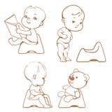Addestramento a usare il vasino Bambini sul potty abbozzo Immagini Stock