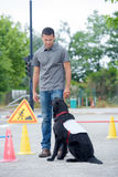 Addestratore di cani e cane immagini stock libere da diritti