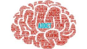 Addict Animated Word Cloud stock illustration
