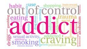 Addict animated word cloud vector illustration