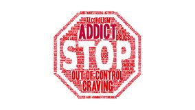 Addict animated word cloud stock illustration