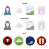 Addict, cocaine, marijuana, corpse.Drug set collection icons in cartoon,flat,monochrome style vector symbol stock. Illustration Royalty Free Stock Photos