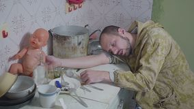 Addict dies from after overdose. Man lays unconscious by needle after overdose stock footage