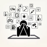 Addict man and set of addiction symbols Royalty Free Stock Images