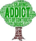 Addict Word Cloud Royalty Free Stock Images