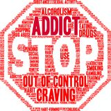 Addict Word Cloud Stock Photography