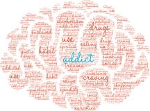 Addict Word Cloud. On a white background Royalty Free Stock Photos