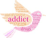 Addict Word Cloud. On a white background Stock Photos