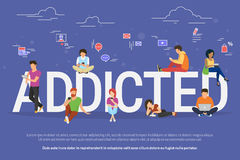 Addicted people concept illustration Stock Photos
