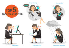 Addicted to social. Business woman sick and five common diseases.Isolated on white background.Vector cartoon illustrations Royalty Free Stock Photography