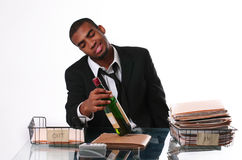 Addiction. Alcohol Prblems: Getting drunk on the job Royalty Free Stock Image
