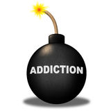 Addiction Bomb Shows Dependence Fixation And Dependency. Addiction Bomb Indicating Craving Hazard And Alert Royalty Free Stock Photos
