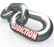 Addiction Chain Links Word Addict Trapped in Disease vector illustration