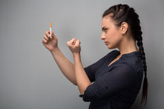 Addiction. Closeup of young woman determined girl Stock Photos