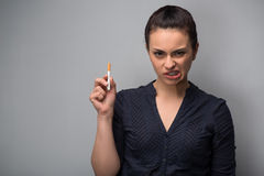 Addiction. Closeup of young woman determined girl Stock Photo