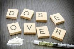 Addiction, Cocaine line track, syringe Stock Photo