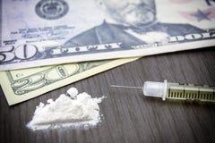 Addiction, Cocaine line track, syringe Royalty Free Stock Images