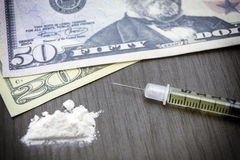 Addiction, Cocaine line track, syringe. Heroin Stock Photography