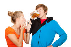 Addiction drunk man and his girlfriend Royalty Free Stock Photos