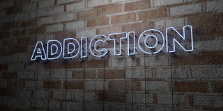 ADDICTION - Glowing Neon Sign on stonework wall - 3D rendered royalty free stock illustration. Can be used for online banner ads and direct mailers Royalty Free Stock Photography