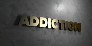 Addiction - Gold text on black background - 3D rendered royalty free stock picture. This image can be used for an online website banner ad or a print postcard Stock Image
