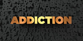 Addiction - Gold text on black background - 3D rendered royalty free stock picture. This image can be used for an online website banner ad or a print postcard Royalty Free Stock Image