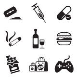 Addiction Icons Stock Photo