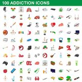 100 addiction icons set, cartoon style. 100 addiction icons set in cartoon style for any design illustration vector illustration