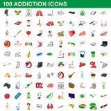 100 addiction icons set, cartoon style. 100 addiction icons set in cartoon style for any design vector illustration Royalty Free Stock Images