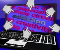 Addiction Laptop Screen Means Obsession Enslavement Or Dependenc Stock Photo